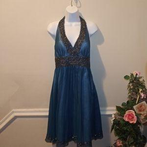 Adrianna Papell Blue Silk Beaded Cocktail Dress